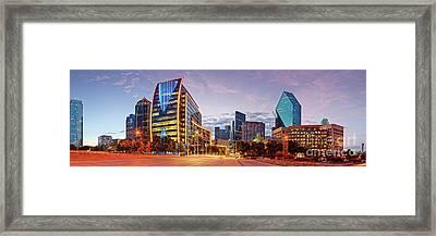 Twilight Panorama Of Downtown Dallas Skyline - North Akard Street Dallas Texas Framed Print