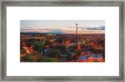Twilight Panorama Of Downtown Santa Fe From Cross Of The Martyrs - New Mexico  Framed Print