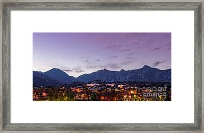 Twilight Panorama Of Estes Park, Stanley Hotel, Castle Mountain And Lumpy Ridge - Rocky Mountains  Framed Print