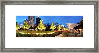 Twilight Panorama Of Klyde Warren Park And Downtown Dallas Skyline - North Texas Framed Print