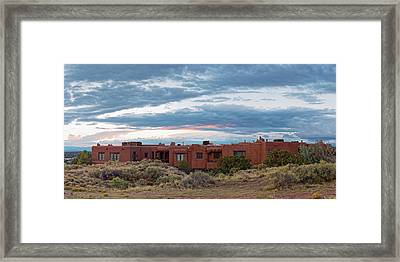 Twilight Panorama Of Pueblo Revival Architecture At Cross Of The Martyrs - Santa Fe - New Mexico Framed Print