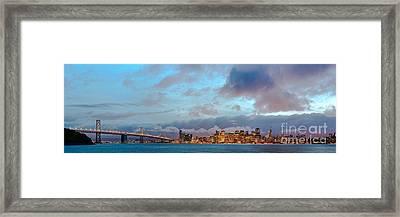 Twilight Panorama Of San Francisco Skyline And Bay Area Bridge From Treasure Island - California Framed Print