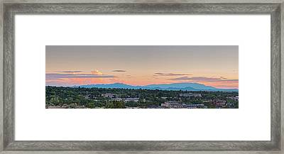 Twilight Panorama Of Santa Fe Cityscape With Sandia Mountains In The Background - New Mexico  Framed Print