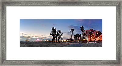 Twilight Panorama Of Santa Monica Pier And Oceanfront Walk - Los Angeles California Framed Print by Silvio Ligutti