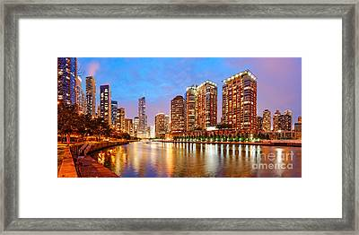 Twilight Panorama Of The Chicago River From Lake Shore Drive - Chicago Riverwalk Illinois Framed Print