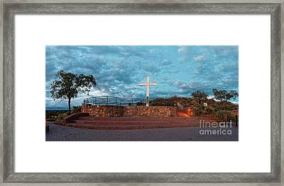 Twilight Panorama Of The Cross Of The Martyrs At Fort Marcy - Santa Fe New Mexico  Framed Print