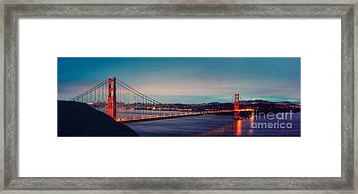 Twilight Panorama Of The Golden Gate Bridge From The Marin Headlands - San Francisco California Framed Print