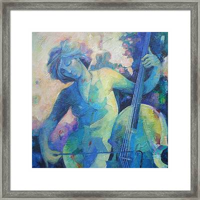 Twilight Rhapsody - Lady Playing The Cello Framed Print by Susanne Clark