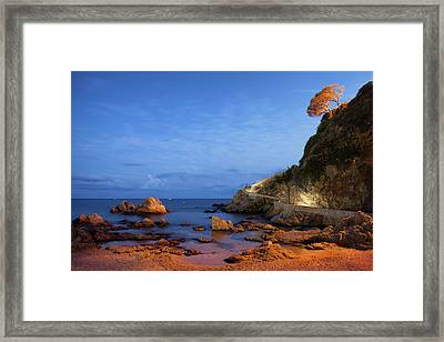 Twilight Sea Coast In Lloret De Mar Framed Print by Artur Bogacki