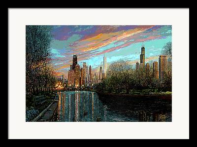 Lincoln Park Lagoon Framed Prints
