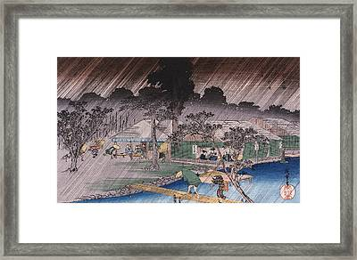 Twilight Shower At Tadasu Bank Framed Print by Hiroshige
