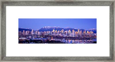 Twilight, Vancouver Skyline, British Framed Print by Panoramic Images