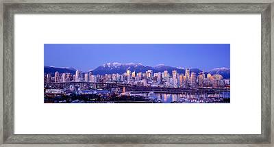 Twilight, Vancouver Skyline, British Framed Print