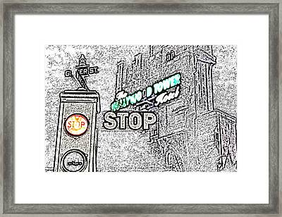 Twilight Zone Tower Of Terror Stop Sign Hollywood Studios Walt Disney World Prints Colored Pencil Framed Print by Shawn O'Brien
