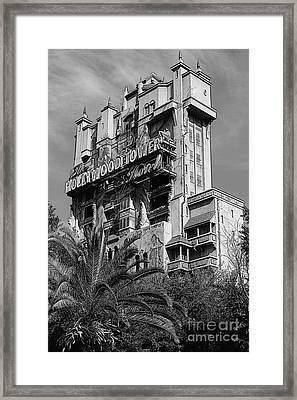 Twilight Zone Tower Of Terror Vertical Hollywood Studios Walt Disney World Prints Bandw Poster Edges Framed Print by Shawn O'Brien