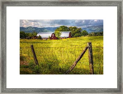 Twin Barns Framed Print by Debra and Dave Vanderlaan