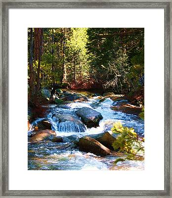 Twin Bridges Cascades Framed Print by Russell  Barton