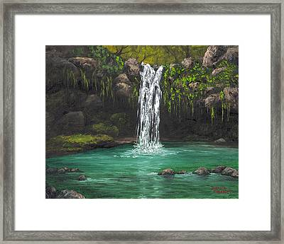Framed Print featuring the painting Twin Falls 2 by Darice Machel McGuire