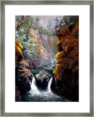 Twin Falls Framed Print
