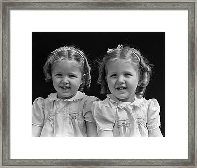 Twin Girls, 1930 Framed Print