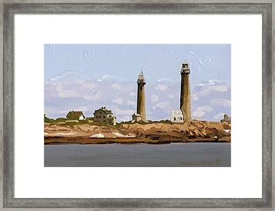 Twin Lights, Thatcher's Island, Rockport, Ma Framed Print