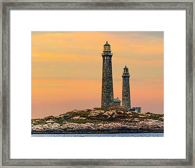 Twin Lights With Morning Glow Framed Print by Tim Kirchoff