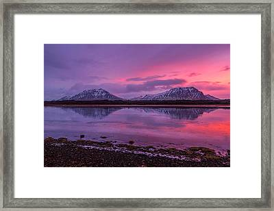 Framed Print featuring the photograph Twin Mountain Sunrise by Pradeep Raja Prints