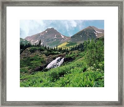 Twin Peaks And Waterfalls Framed Print