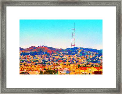 Twin Peaks In San Francisco Framed Print by Wingsdomain Art and Photography