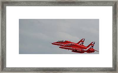 Framed Print featuring the photograph Twin Red Arrows Taking Off - Teesside Airshow 2016 by Scott Lyons