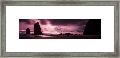 Twin Rock Sunset Framed Print