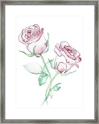 Twin Roses Framed Print by Varpu Kronholm