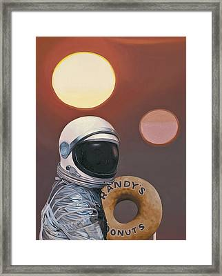 Framed Print featuring the painting Twin Suns And Donuts by Scott Listfield