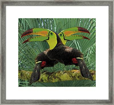 Twin Toucans Framed Print by Larry Linton