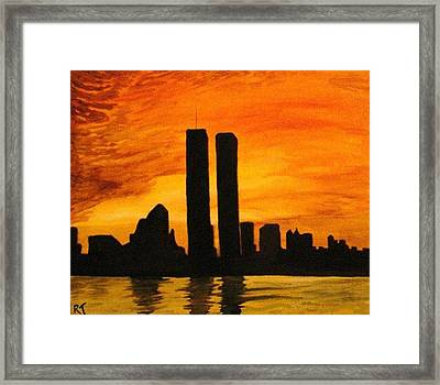 Twin Towers Silhouette Framed Print