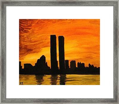 Twin Towers Silhouette Framed Print by Rita Tortorelli