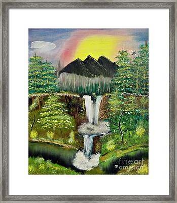 Twin Waterfalls Framed Print