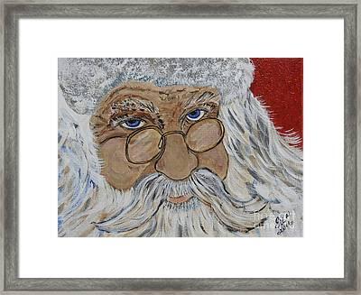 Twinkle In His Eye - Santa Framed Print by Ella Kaye Dickey
