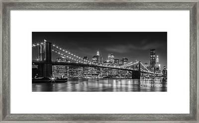 Twinkle, Twinkle Brooklyn Bridge Framed Print by Henk Meijer Photography