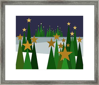 Twinkling Forest Framed Print by Val Arie