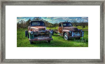 Almost Twins 1952 Chevrolet 1952 Gmc Flatbed Truck Art Framed Print