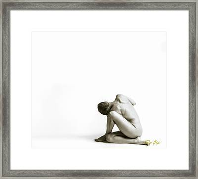 Framed Print featuring the photograph Twisted Figure On White by Rikk Flohr