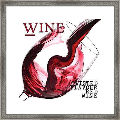 Twisted Flavour Red Wine Words Framed Print