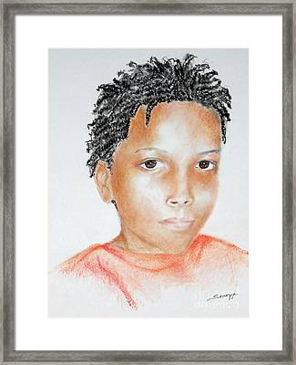 Twists, At 9 -- Portrait Of African-american Boy Framed Print