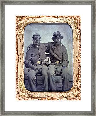 Two African American Soldiers Wearing Framed Print