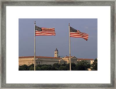 Two American Flags With Old Post Office Building Framed Print by Sami Sarkis