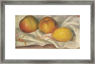 Two Apples And A Lemon Framed Print