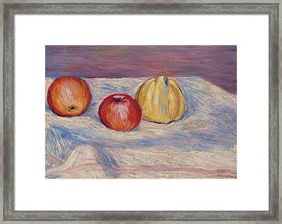 Two Apples And A Quince Framed Print by Pierre Auguste Renoir