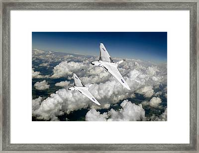 Framed Print featuring the photograph Two Avro Vulcan B1 Nuclear Bombers by Gary Eason