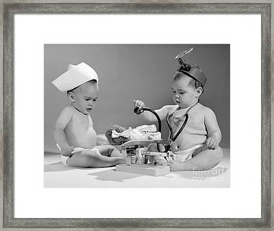 Two Babies Playing Doctor, C.1960s Framed Print